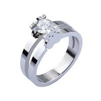 bear parties - 2015 New Arrival Fashion Women Cute Bear Rings With Zircon Stainless Steel Bear Wedding Ring For Women Cute Jewelry