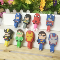 america headphones - Super heros Cord Holder batman iron man captain america spider man cartoon earphone cable winder silicone headphones cable winder organizer