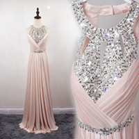 Wholesale Sexy Shining Crystals Prom dress Pink Floor Length Satin Formal Evening Party Gowns Prom Dresses Plus Size
