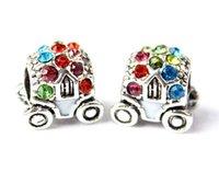 Wholesale Pandora Beads DIY multi color diamond bracelet silver plated mixed batch of