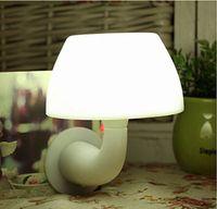 Wholesale Wireless LED Night Light Mushroom Lamp US Plug Bedside Lamp Sensor with Remote Control For Children White