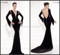 Wholesale Abendkleider Black Mermaid Tarik Ediz Evening Dress Long Sleeve Backless Sweetheart Vestidos De Festa Longo Formal Gown