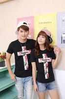 2016 la nueva manera unisex de la marca de fábrica de la manera de los hombres de la marea del verano de los EEUU de los EEUU junta la camiseta blanca del negro de la camiseta de la impresión de la cruz de la flor de Rose del estilo