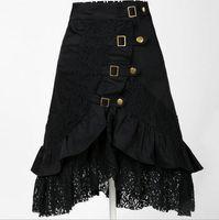 Wholesale New Women Gothic Steampunk Vintage Black Lace Skirt Party Club Lolita Rock DressWear Clubwear Gypsy Unique Black S XL