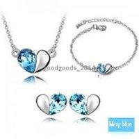 Bracelet,Earrings & Necklace aqua necklaces - Fashion Austrian Crystal Heart pendant necklace earrings and Bracelet Woman Jewelry Set z104