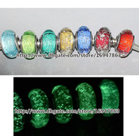 Cheap 7pcs 925 Sterling Silver Signature Color Fluorescence Murano Glass Beads Fit European Style Pandora Charm Jewelry Bracelets & Necklaces