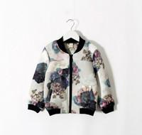 Cheap Flower Cotton Long Sleeve Floral Print Zipper Kids Clothes Girls Sweater Jackets Children Clothing Cardigan Jacket Tops Fashion D5253