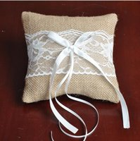 Wholesale Vintage cm Burlap Hessian Lace Bow Ring Pillow for Bridal Wedding Decoration Product Supplies Fashion Ring Pillow