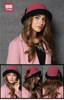 floral bucket hat - New spring and Winter Elegant Women s Fashion Cap Ladies Flower Rose Bucket Hat Women Small Fedoras Hat Cloche Headwear