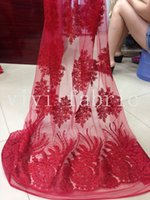 big saws - Stock promotion YYL015 full rhinestone big red sexy luxury mesh french lace fabric for wedding dress sawing ship by dhl