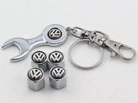 4 wheel - Wheel Tire Valve Caps with Mini Wrench Keychain for VW Volkswagen Piece Pack Chrome Tire Valve Stem Caps