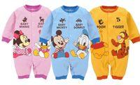 tigger - 2015 Autumn Cartoon Minnie Mickey Mouse Pooh Tigger Long Sleeve Baby Boys Girls Romper Kids Button Round Collar Cute Climbing Clothing L1894