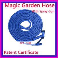 Cheap Blue pocket hose 25 ft garden hose with spray nozzle expandable mangueira jardim wholesale