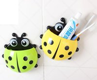 Wholesale Toothbrush Holder colors Cute Ladybug Cartoon Sucker Toothbrush Holder suction hooks Household Items toothbrush rack bathroom set
