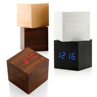 desktop wooden - New USB DC6V Desktop Table Clocks Despertador Digital LED Square Alarm Wood Wooden Clock Temperature Display Voice Sound FG07110