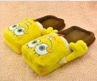 Wholesale 1pair cute SPONGEBOB Squarepants Soft Plush Stuffed Slipper