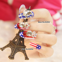 american flag nails - x Long Red American Flag Design Large Stones Artificial False Nails Tips