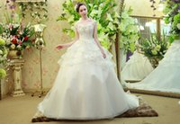 Wholesale Newest Sheer Bateau Sequins Lce Beaded Crystal Organza Ruffles Ruched Ball Gown Gowns Floor length Bridal Dress Empire Wedding Dresses
