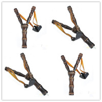 bamboo gun - New Arrive Bamboo Style Wood Wooden Sling Shot Toys Slingshot Bow Catapult Hunting