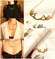 antler x - Europe Vintage Style Gold Deer Horn Antlers Necklaces Pendants Choker Chain Necklace For Women Jewelry X max