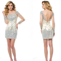 beaded crystal net - Sexy Cocktail Dresses Net Tulle Backless Beaded Crystal Rhinestone long sleeve Mini Short Sheath Column Intricate Prom Dresses
