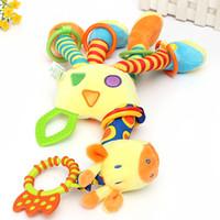 Wholesale High Quality Cute Kids Soft Giraffe Plush Baby Animal Model Handbells Rattle Handle Developmental Stuffed Unisex Toys order lt no