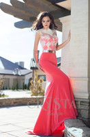 arab wedding pictures - New Arrival Coral Red Satin White Lace Applique Gold Belt Mermaid Sexy Formal Long Arab Prom Dresses Wedding Party