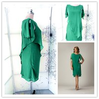 Wholesale 2014 New Arrival Chiffon Green Crew Beading Sleeveless Prom Gowns Sheer Knee Length Elegant Mother Of The Bride Dresses