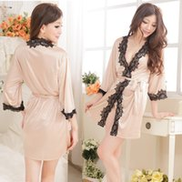 Wholesale Sexy lovely lace sleeve silk bathrobe cardigan nightdress dressing gowns for women home many color available