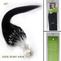 micro loop hair extensions - 26 quot Strands Silky Straight Micro Loop remy human hair extension Jet Black
