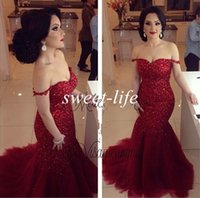 Wholesale Gorgeous Red Mermaid Evening Dresses Sexy Off Shoulder Backless Bling Sequins Plus Size Celebrity Gowns Long Formal Party Prom Dresses