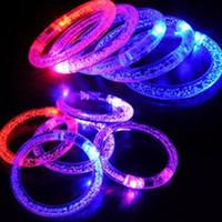 Wholesale Hot LED Colorful Flashing Bracelet Light Blinking Crystal Bracelets party and gifts LED bracelet