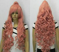 Wholesale Special Split Orange Pink cm Long Cosplay Split Wig Ponytail