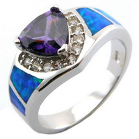 blue stone ring - opal jewelry with cz stone fashion opal rings with Mystic rainbow blue opal ring OR026H