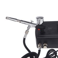 airbrush mini compressor - Mini Air Compressor Dual Action Spray Gun Air brush Set for Body Paint Makeup Craft Cake Toy Models Airbrush Kit H12345