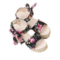 Wholesale Women Wedges Sandals New Arrival Fashion Hot sale Summer Female High Platform Lace Belt Bow Flip Flops Open Toe Women Shoes