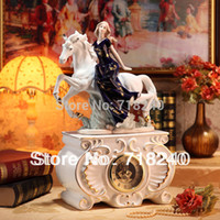 antique porcelain figurine - European Style Ceramic Porcelain Clock White Horse Girl Figurine Dark Blue Home Wedding Decor Bedroom Hall Desk Ornaments Gift