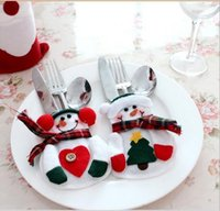 bamboo knife holder - Kitchen Cutlery Suit Silverware Holders Pockets Knifes Folks Bag Snowman Shaped Christmas Party Decoration Supplies