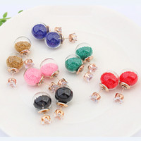 Women's gemstone earrings - 2016 Transparent Hollow Glass Ball Earrings Double Sided gemstone beads inside diamond crystal Stud earings wedding Jewelry For Women girls