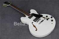 Wholesale Hot selling classical jumbo hollow body jazz electric guitars with white color factory OEM handmade guitar