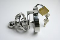 male sex toy catheter - Stainless steel Male Metal Chastity Device With Urethral Catheter Cock Cages Virginity Lock Penis Ring Lock Adult Games Sex Toys