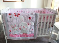 Wholesale 3D embroidery Lovely rabbit Wild flowers insects pieces baby bedding set include Quilt Bumper bed Skirt Mattress Cover