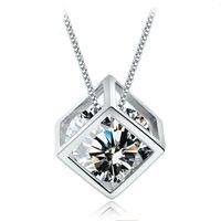achat en gros de zircon collier autriche-Nouveau mode romantique Magie Arrows Coeur Cube cristal Autriche drop collier pendentif. Zircon intérieur Colliers choker pour les femmes