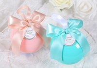 Wholesale 5 colors Clear Crystal Ball candy box Round gift boxes Ribbon bowknot Wedding favors