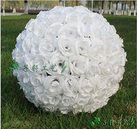 rose balls wedding - Elegant White Artificial Rose Silk Flower Ball Hanging Kissing Balls cm to CM Ball For Wedding Party Decoration Supplies