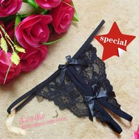 Cheap Free shipping 1pc lot 2014 Ladies Lace Sexy Open Crotch Thongs G-string V-string T-Back Panties Knickers Underwear tanga 4 color