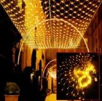 Feux de Noël de fêtes led net lumières clignotantes lumières de cordes dans le ciel étoile tête 1.5 M * 1.5M 96LED pêche nset AC.110v-250v