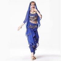 belly dance headpiece - 8 Colors Sari Indian Clothing piece Suit D Chiffon Top Coin Waist Belt Dance Veil Headpiece Women Indian Pants Costume