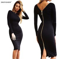 Wholesale SINOFASHION Women Sexy Night Club Bodycon Bandage Dress vestidos Solid Color Ladies Long Sleeve Back Zipper Slim Party Knee Dresses