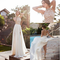 Wholesale 2015 Julie Vino Summer Evening Dresses Halter Backless Beaded Lace Topped High Slit Chiffon A line Beach Prom Gowns BO5557